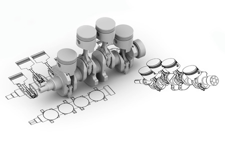 crank: Crank 4 cylinder chart with 3d image Stock Photo