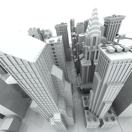 New York City  rendered, white, 3d
