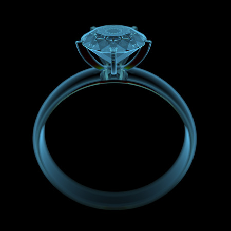 Diamond ring  3D x-ray blue transparent isolated on black  Stock Photo