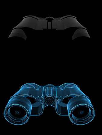 dual: Binoculars  3D xray blue transparent  collage dual Stock Photo