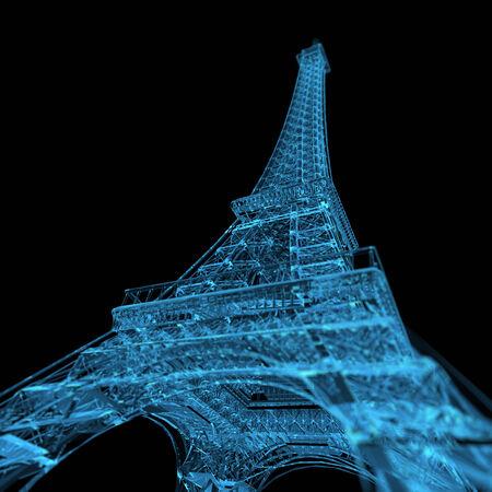 Eiffel Tower  3D xray blue transparent  photo