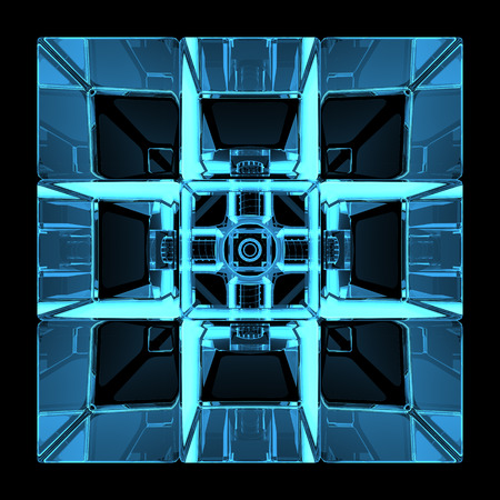 3D rendered blue xray transparent rubics cube photo
