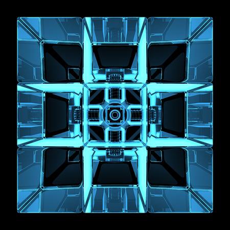 3D teruggegeven blauwe xray transparante rubics kubus
