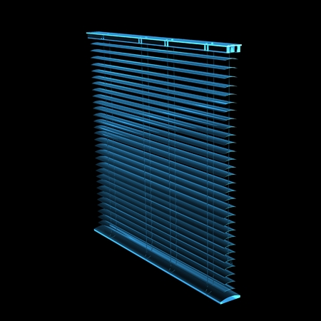 blinds: blinds 3D rendered xray blue transparent