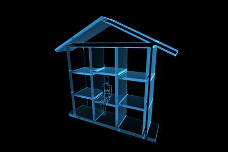 blue house 3D xray blue transparent