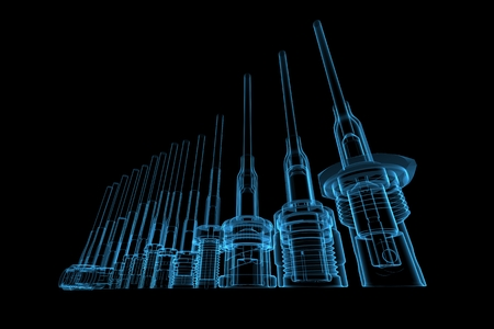 RF Cable connectors 3D rendered blue transparent