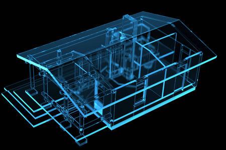 Small House, Sauna  3D xray blue transparent  Stock Photo
