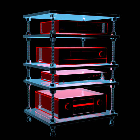 hifi: Hifi table with equipment  3D xray red and blue transparent isolated on black background