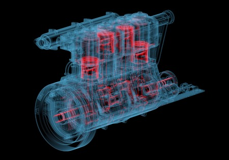 Internal combustion engine  3D xray red and blue transparent isolated on black background  photo