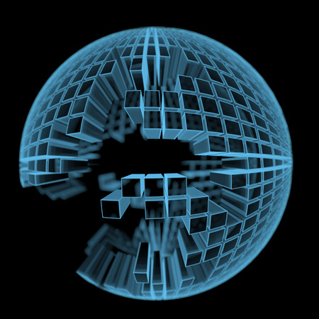 Under construction ball made of rectangular parts  3D xray blue transparent isolated on black background