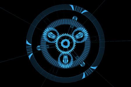 x ray machine: 3D rendered blue xray transparent planetar gear