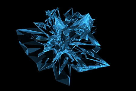 Crystal 3D rendered xray blue transparent Stock Photo
