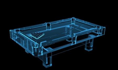 billiard: Pool table 3D rendered xray blue transparent
