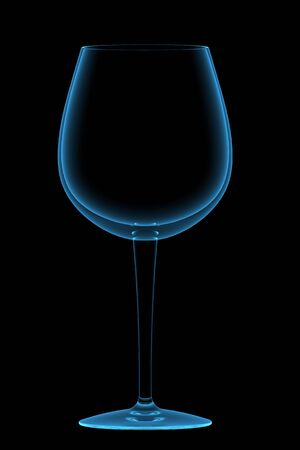 Wineglass 3D rendered xray blue transparent