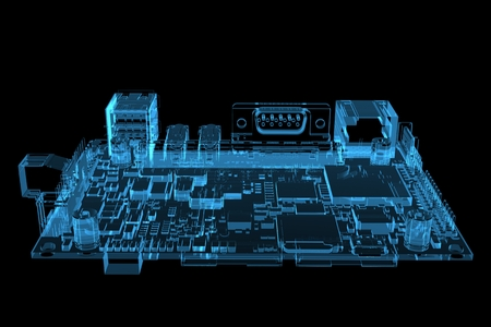 electronic circuit: Computer motherboard 3D rendered xray blue transparent