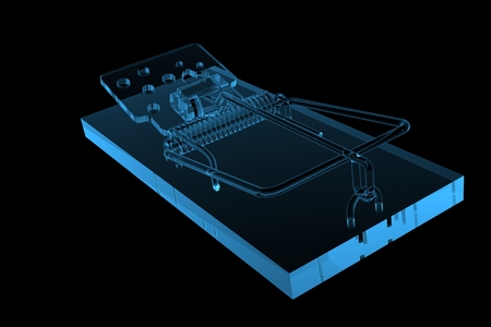 mouse trap: Mouse Trap 3D rendered xray blue transparent Stock Photo
