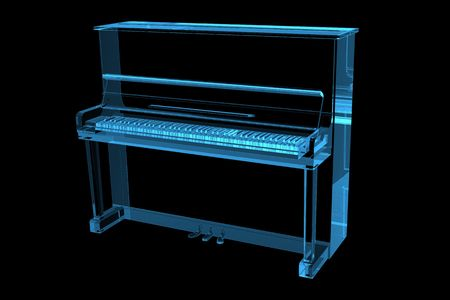 Piano 3D X-Ray Blue Transparent photo