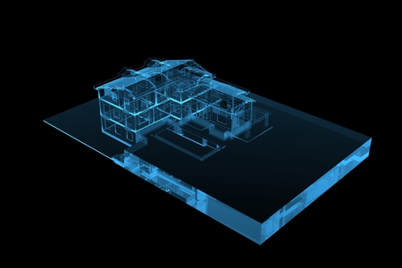 House (3D xray blue transparent) photo