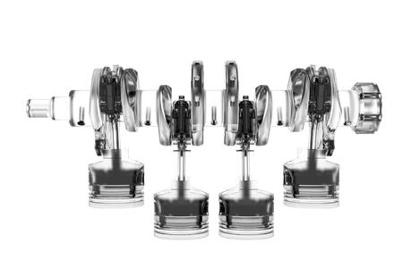 4 cyclinder crank 3D teruggegeven witte transparante