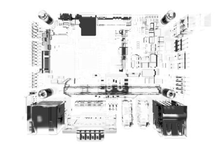 main board: CPU main board 3D rendered white transparent