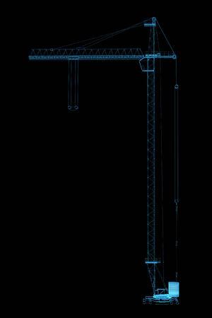 x ray machine: Crane 3D rendered xray blue transparent Stock Photo