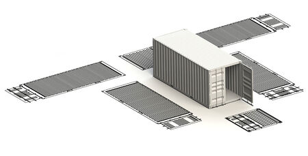 paper container: Transportation container charts with 3d model on top Stock Photo