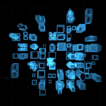 Big City 3D xray blauw transparant
