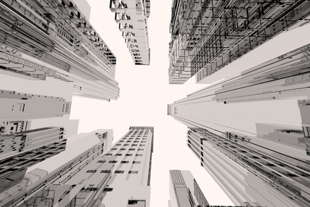 Mirror city with tall buildings