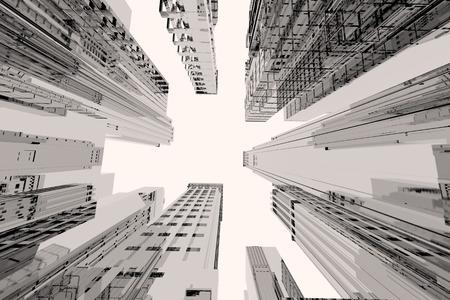 Spiegel stad met hoge gebouwen