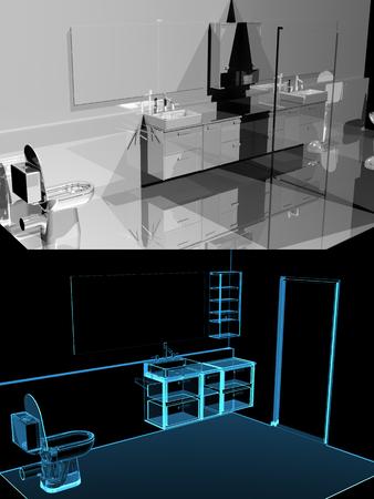 Modern bathroom  3D xray blue transparent  collage dual
