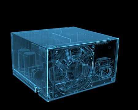 ATX PC power supply  3D xray blue transparent