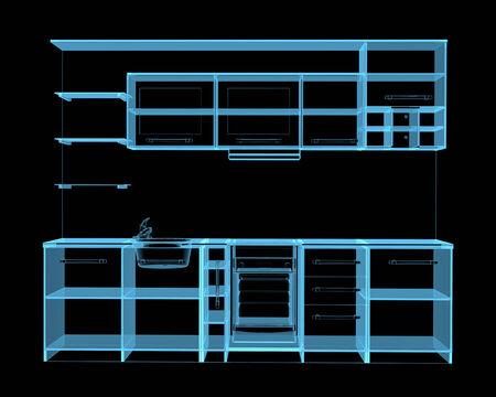 Kitchen furniture  3D xray blue transparent  Stock Photo
