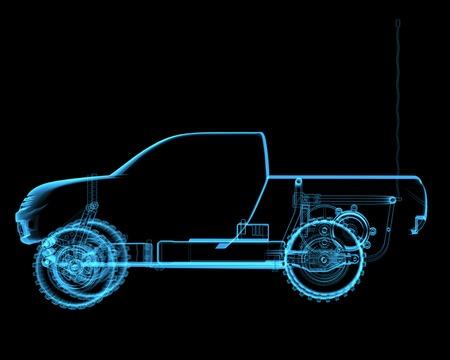 Radio controlled R C toy car  3D xray blue transparent  Stock Photo