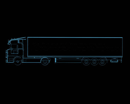 Semi truck with trailer  3D xray blue transparent isolated on black background
