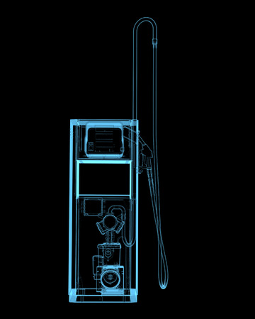unleaded: Gass station  3D xray blue transparent isolated on black background