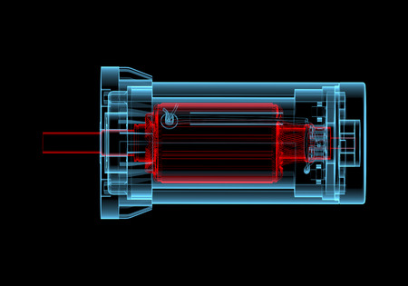 AC Electric motor  3D xray red and blue transparent isolated on black background