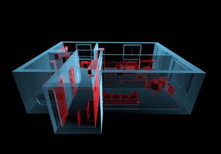 Equipped house  3D xray red and blue transparent isolated on black background  photo