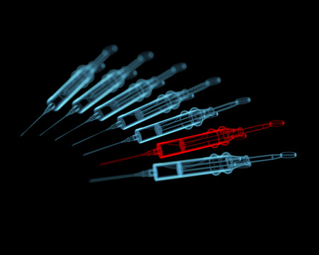 Syringes  3D xray red and blue transparent isolated on black background  Stock Photo