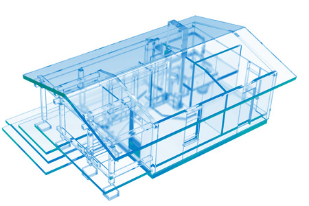 Small House, Sauna  3D xray blue transparent  photo