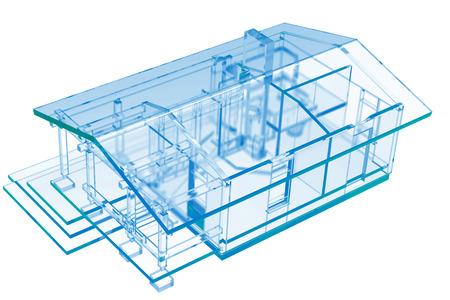 x ray image: Small House, Sauna  3D xray blue transparent  Stock Photo