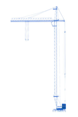 Crane  3D xray blue transparent on white