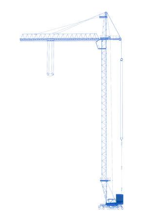 x ray machine: Crane  3D xray blue transparent on white