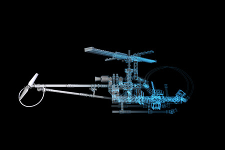x ray machine: Toy Helicopter  3D xray blue transparent