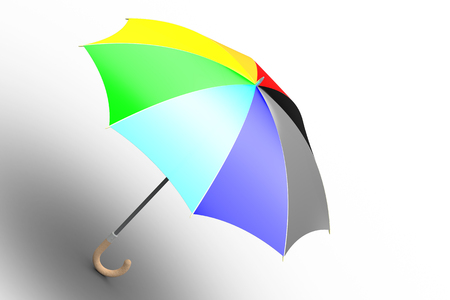 brolly: Umbrella  unfolded, ranbow colored  Stock Photo