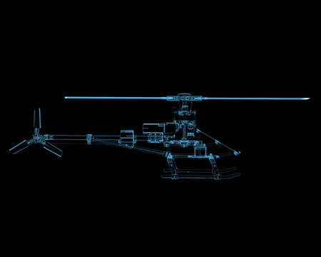 Helicopter  3D xray blue transparent