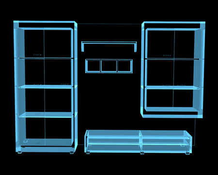 Furniture  3D x-ray blue transparent isolated on black  photo