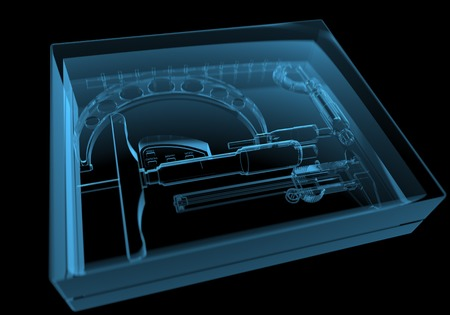 blue ray: Box with instruments  3D xray blue transparent