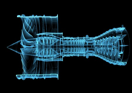 aircraft engine: Turbo jet engine  3D xray blue transparent  Stock Photo