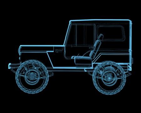 4 wheel: Offroad 4x4 suv 3D radiograf�a azul transparente aislado en negro