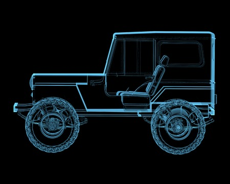 4x4: Offroad 4x4 suv  3D x-ray blue transparent isolated on black
